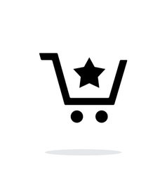 Shopping cart with favorites item simple icon on vector