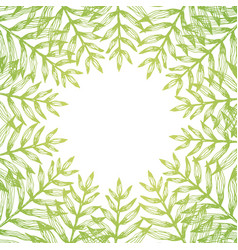 square frame of golden tropical leaves on white vector image