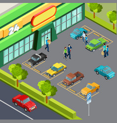 Supermarket with car parking vector