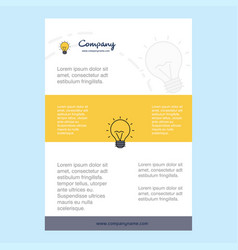 template layout for seo bulb comany profile vector image