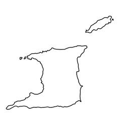 trinidad and tobago map of black contour curves vector image