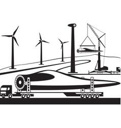 truck carrying wind turbine blade vector image