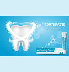 Whitening toothpaste ad big healthy tooth vector