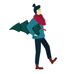 woman shopping and carrying christmas tree in vector image