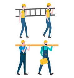 Workers carrying ladder and wooden plank log set vector