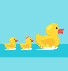 Yellow rubber duck with family vector