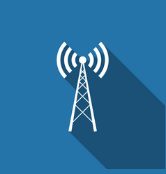 antenna flat icon with long shadow vector image