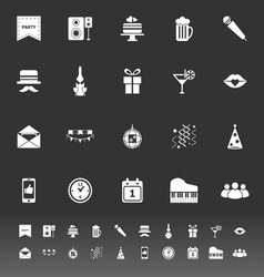 Celebration icons on gray background vector image vector image