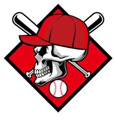 Skull wearing hat and crossed baseball bat vector image