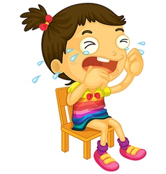 A young girl crying vector image vector image
