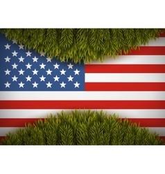 American flag and christmas tree Greeting card vector image vector image