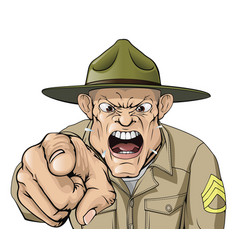 cartoon angry army drill sergeant shouting vector image vector image