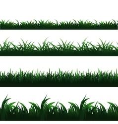 Green seamless grass borders set vector image