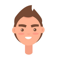 male cartoon head with smile isolated vector image vector image