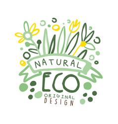 natural eco label original design logo graphic vector image vector image