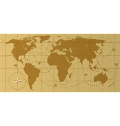 Vintage world map with compass royalty free vector image retro world map vector image gumiabroncs Image collections