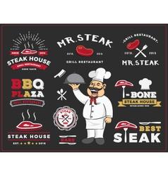 Set of steak and grill restaurant logo label desig vector image