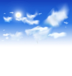 Sky background - White clouds and sun in blue sky vector image