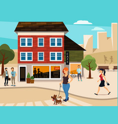 urban with walking people on the vector image