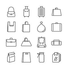 bag line icon set vector image