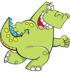 Cartoon Running Dinosaur vector image vector image