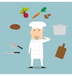 Chef profession utensil and vegetables vector image vector image