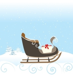 Christmas Retro Sled Gift Snow Snowflake Surprise vector image vector image