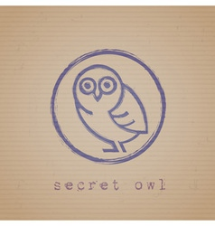 Rubber stamp of owl vector image vector image