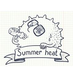sun character drinks water vector image vector image