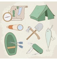 Camping hand drawn icons vector image vector image