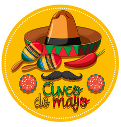cinco de mayo festival theme with instruments and vector image