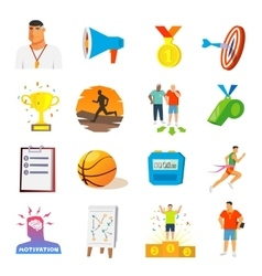 Coaching And Sport Flat Icons vector image vector image