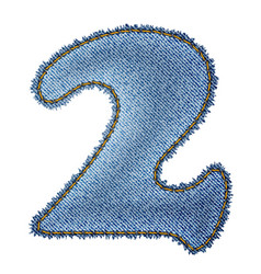 Jeans alphabet Denim number 2 vector image vector image