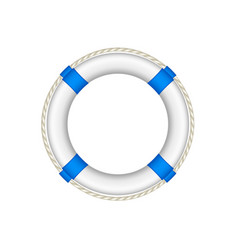 life buoy in white and blue design with rope vector image vector image