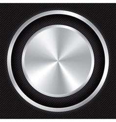 Metallic button on Carbon fiber background vector image