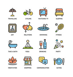 relaxation rest time color thin line icon set vector image vector image