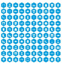 100 fashion icons set blue vector image