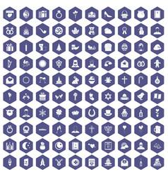 100 religious festival icons hexagon purple vector image
