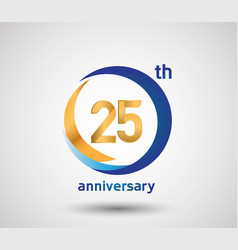 25 anniversary design with blue and golden circle vector
