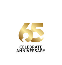 65 years anniversary celebrate gold template vector