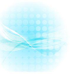 Abstract light blue waves and lines with circles vector