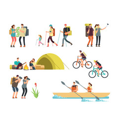 Active people hikers cartoon travelling family vector