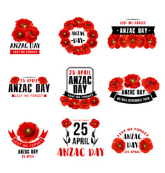 Anzac day 25 april red poppy icons vector