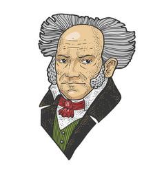 arthur schopenhauer sketch vector image