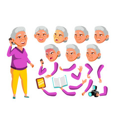 Asian old woman senior person aged vector