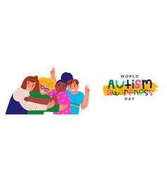 Autism awareness day children friend group hug vector