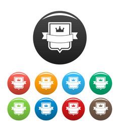badge emperor icons set color vector image