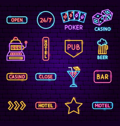 bar signs neon icons vector image