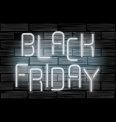 Black friday sale neon electric letters on black vector