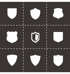 black shield icons set vector image vector image